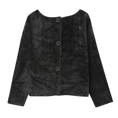 Wool Felt & Nylon Fur 2-way Jacket - Black
