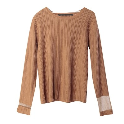 Transparent Yarn Ribbed Blocking Sweater - Blonzer