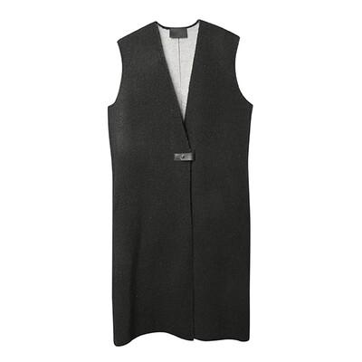 Leather Strap Knitted Vest Coat - Black