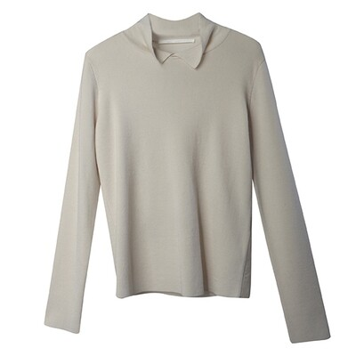 Shirt Collar Sweater - Almond