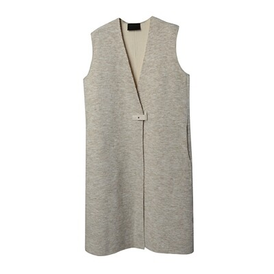 Leather Strap Knitted Vest Coat - Sheep/Vanilla