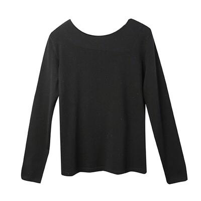 Stitch Blocking Round Neck Sweater - Black
