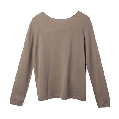Stitch Blocking Round Neck Sweater - Walnut