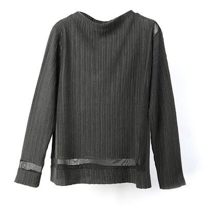 Transparent Yarn Ribbed Blocking Mock Neck Sweater - Charcoal