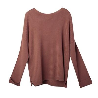 Racked Stitch Drop Shoulder Sweater - Crimson