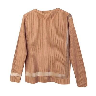 Transparent Yarn Ribbed Blocking Mock Neck Sweater - Bronzer