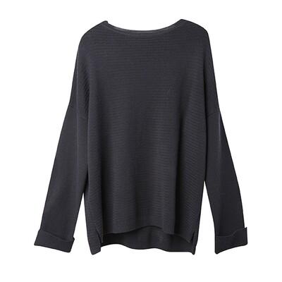 Racked Stitch Drop Shoulder Sweater - Dark Purple