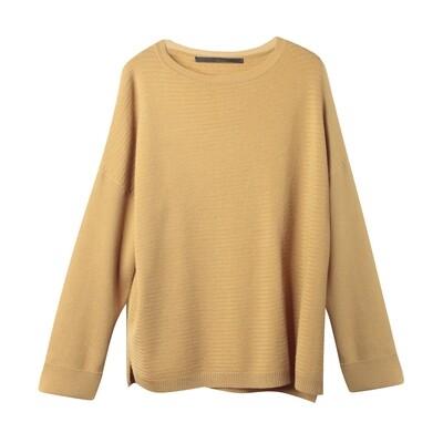 Racked Stitch Drop Shoulder Sweater - Honey