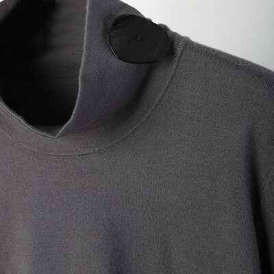 Shell Button Embellished Stand Collar Sweater - Mid Grey