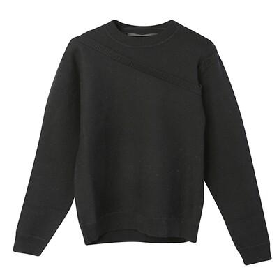 2 in 1 Crew Neck Sweater - Black