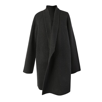 Wool Blend Knitted Coat - Black