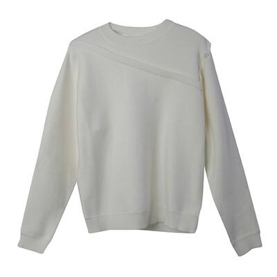 2 in 1 Crew Neck Sweater - Vanilla