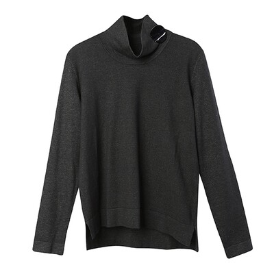 Shell Button Embellished Stand Collar Sweater - Dark Charcoal