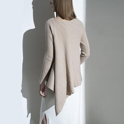 Rib Stitch Asymmetric Hem Sweater - Light Beige