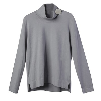 Shell Button Embellished Stand Collar Sweater - Pearl Blue
