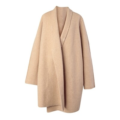 Wool Blend Knitted Coat - Nude