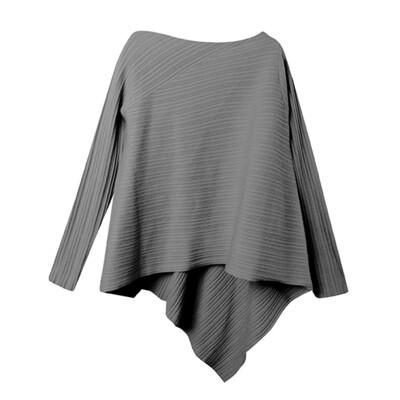 Rib Stitch Asymmetric Hem Sweater - Charcoal