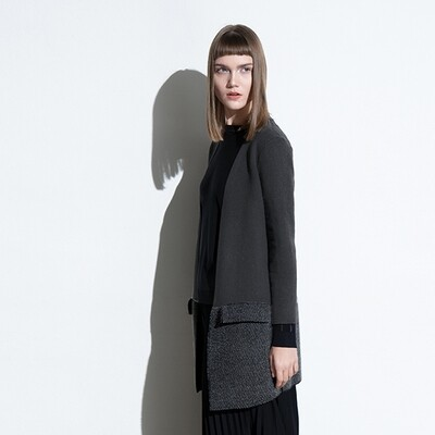 Colour-Blocked Knitted Cardigan - Charcoal/ Bottle Blue