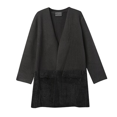 Colour-Blocked Knitted Cardigan - Black