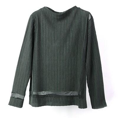 Transparent Yarn Ribbed Blocking Mock Neck Sweater - Peat