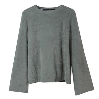 Bell Sleeved Nylon-Fur Sweater - Mint