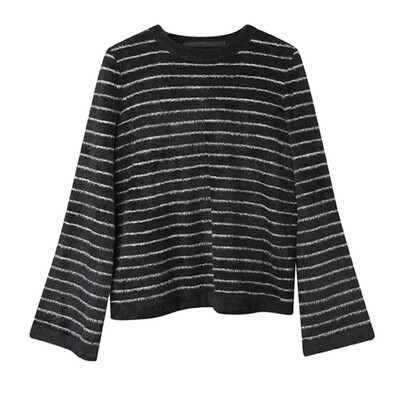 Bell Sleeved Nylon-Fur Sweater - Eclipse