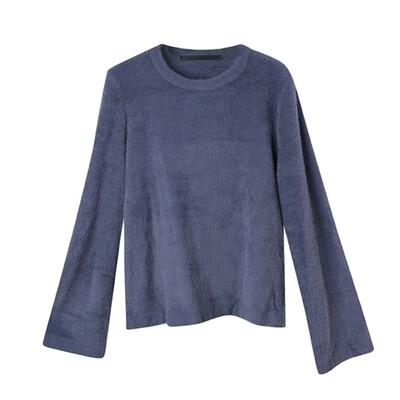 Bell Sleeved Nylon-Fur Sweater - Lavender