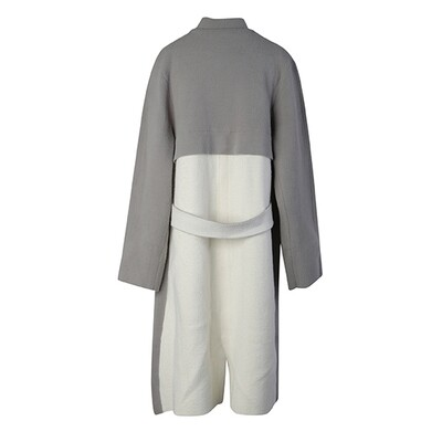 Colour-Blocked Stand Collar Knitted Coat - Light Heather Grey/ Eggshell