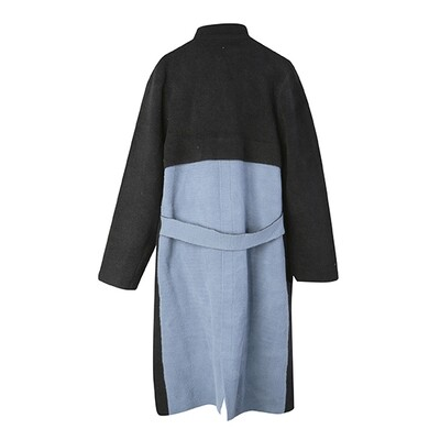 Colour-Blocked Stand Collar Knitted Coat - Black/Dusty Blue