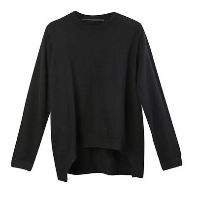 Curve Hem Round Neckline Sweater - Black