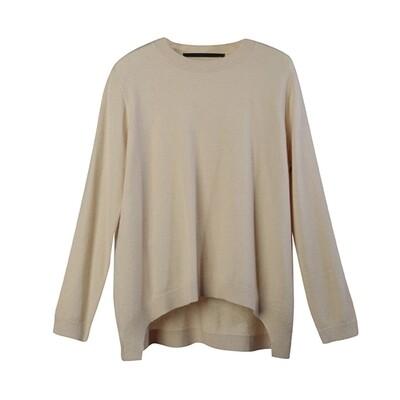 Curve Hem Round Neckline Sweater - Champagne