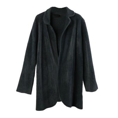 Nylon-Fur Knitted Coat - Dark Pine