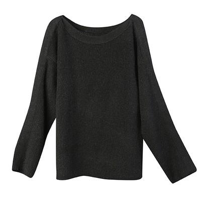 Mixed-Yarns Oversized Sweater - Black