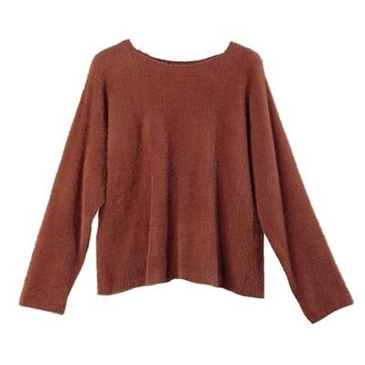 Batwing Nylon-Fur Sweater - Bronzer
