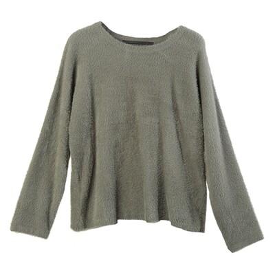 Batwing Nylon-Fur Sweater - Olive
