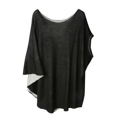 Reversible Asymmetric Knitted Cape- BLACK