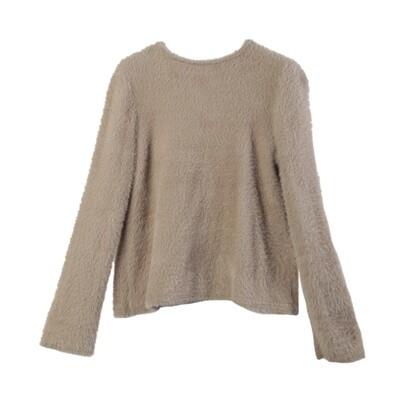 Bell Sleeved Nylon-Fur Sweater-DOVE