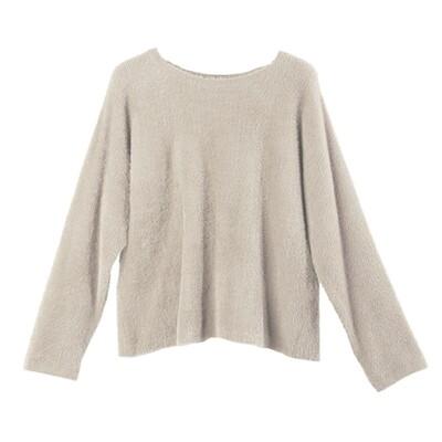 Batwing Nylon-Fur Sweater - Dove