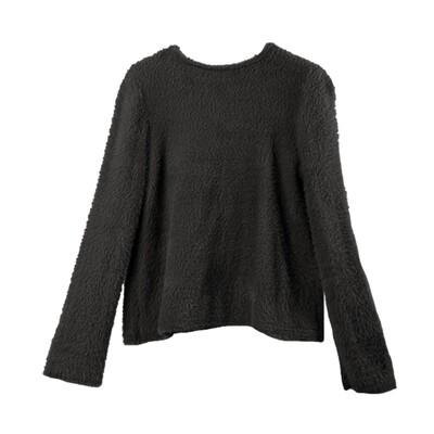 Bell Sleeved Nylon-Fur Sweater-BLACK