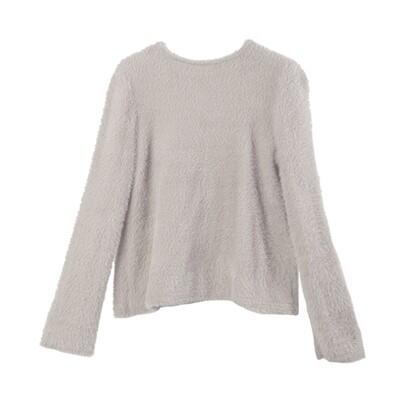 Bell Sleeved Nylon-Fur Sweater-EGGSHELL