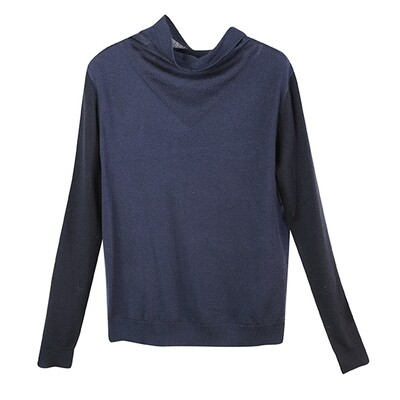 Colour Block Cowl Neck Knitted Top-Navy/Eclipse