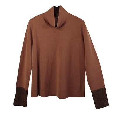 Fabric-Blocked Cuffs Stand Collar Knit Top-GINGER