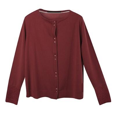 Fabric-Blocked Cuffs Lightweight Cardigan-RED WOOD