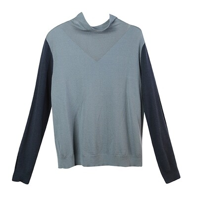 Colour Block Cowl Neck Knitted Top-Pearl Blue/Atlantic