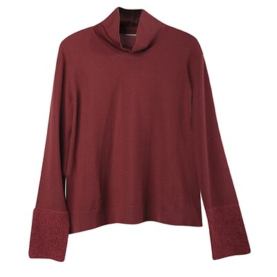 Fabric-Blocked Cuffs Stand Collar Knit Top-RED WOOD
