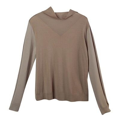 Colour Block Cowl Neck Knitted Top-Nude/Dove