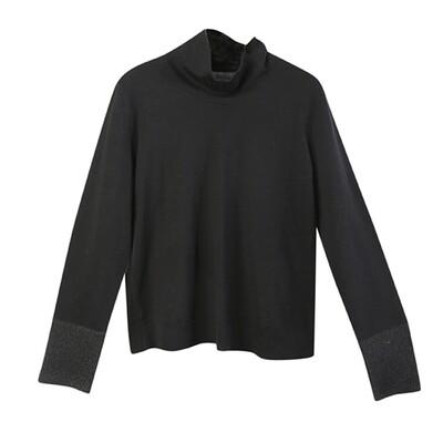 Fabric-Blocked Cuffs Stand Collar Knit Top-BLACK