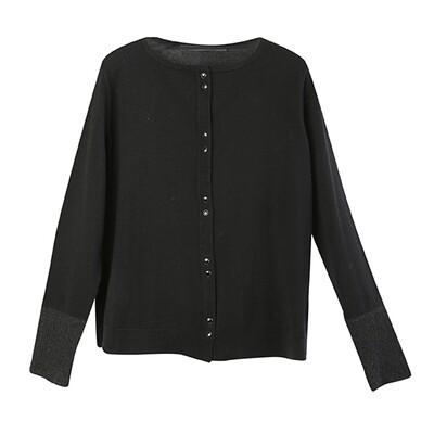 Fabric-Blocked Cuffs Lightweight Cardigan-BLACK