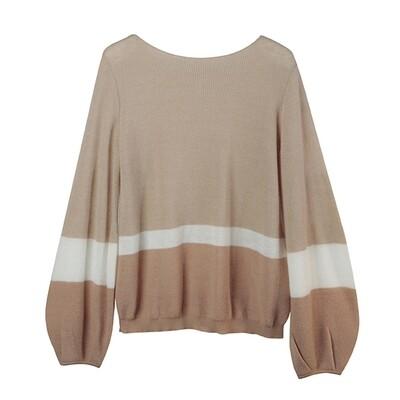 Puff Sleeve Colour-Blocked Baby Alpaca Sweater-NUDE/EGGSHELL/DOVE
