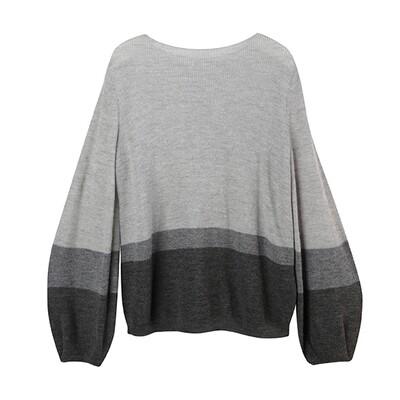 Puff Sleeve Colour-Blocked Baby Alpaca Sweater-LHG/MHG/CHARCOAL